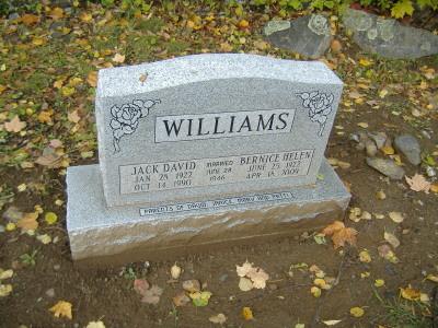 Headstones: Headstone: Williams Family Trees